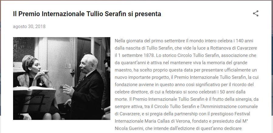 Il Premio Internazionale Tullio Serafin si presenta (Bella Una vita all'Opera)