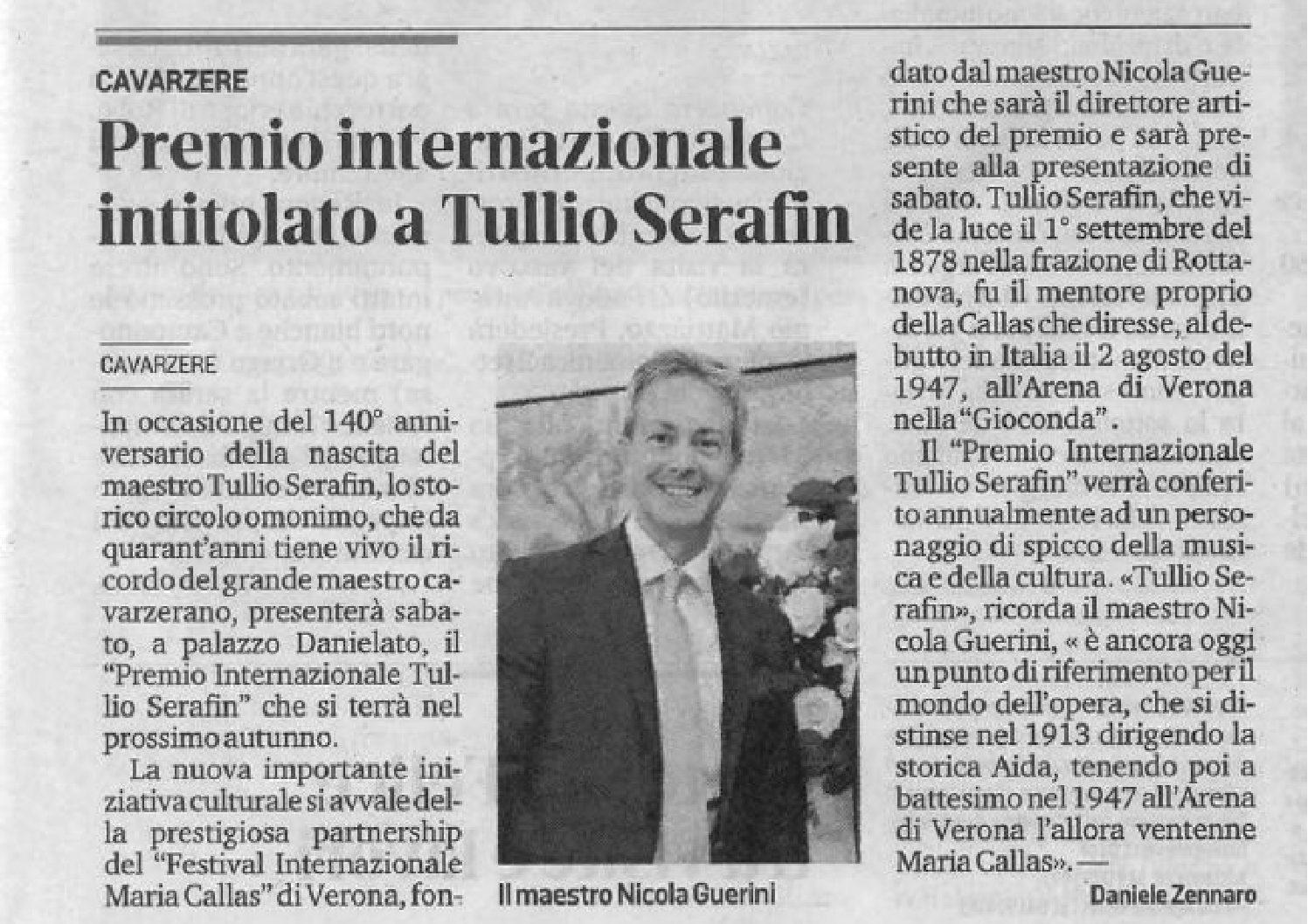 Premio internazionale intitolato a Tullio Serafin (La Nuova di Venezia e Mestre)