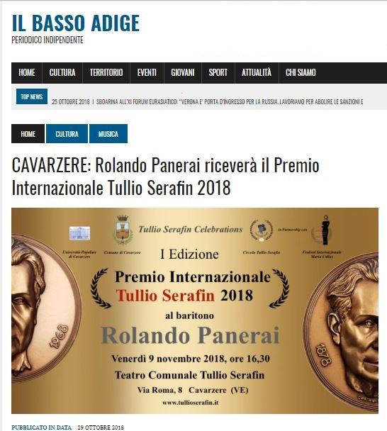 CAVARZERE: Rolando Panerai riceverà il Premio Internazionale Tullio Serafin 2018 – Il Basso Adige