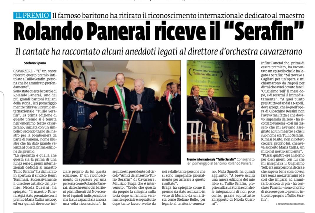"""Rolando Panerai riceve il premio """"Tullio Serafin"""" – La Voce di Rovigo"""