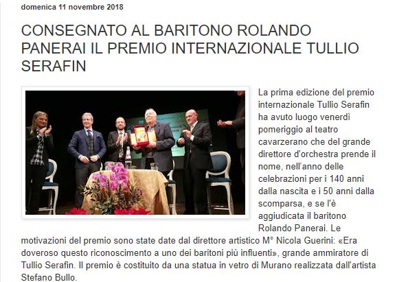 CONSEGNATO AL BARITONO ROLANDO PANERAI IL PREMIO INTERNAZIONALE TULLIO SERAFIN – Cavarzereazzurra
