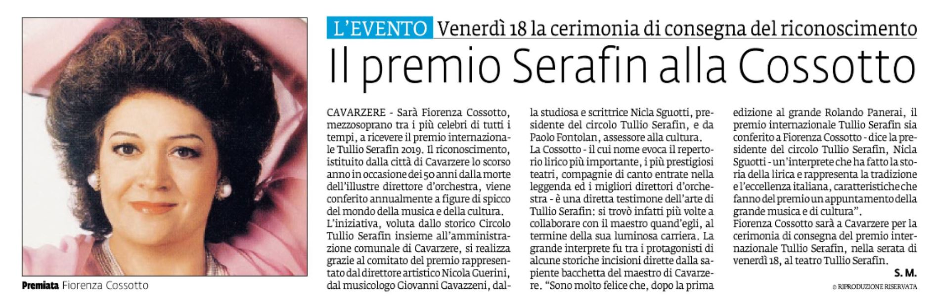 Il Premio Serafin alla Cossotto – La Voce di Rovigo