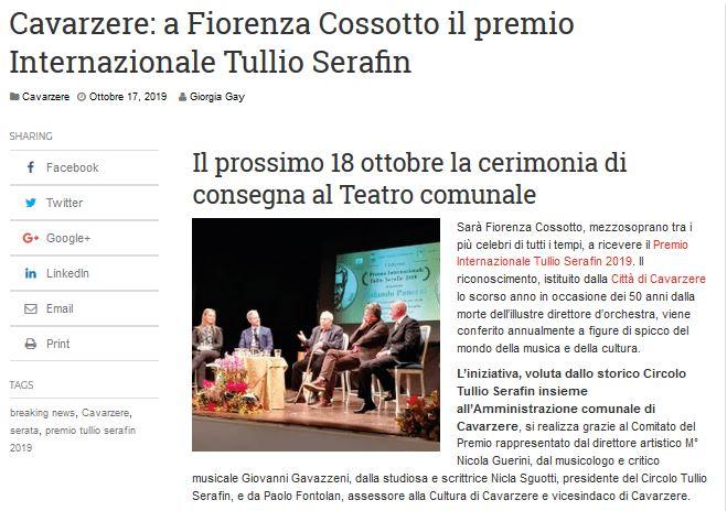 Cavarzere: a Fiorenza Cossotto il premio Internazionale Tullio Serafin – LaPiazzaWeb.it