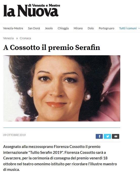 A Cossotto il Premio Serafin – La Nuova Venezia