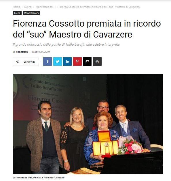 """Fiorenza Cossotto premiata in ricordo del """"suo"""" Maestro di Cavarzere – RadioRovigo.it"""