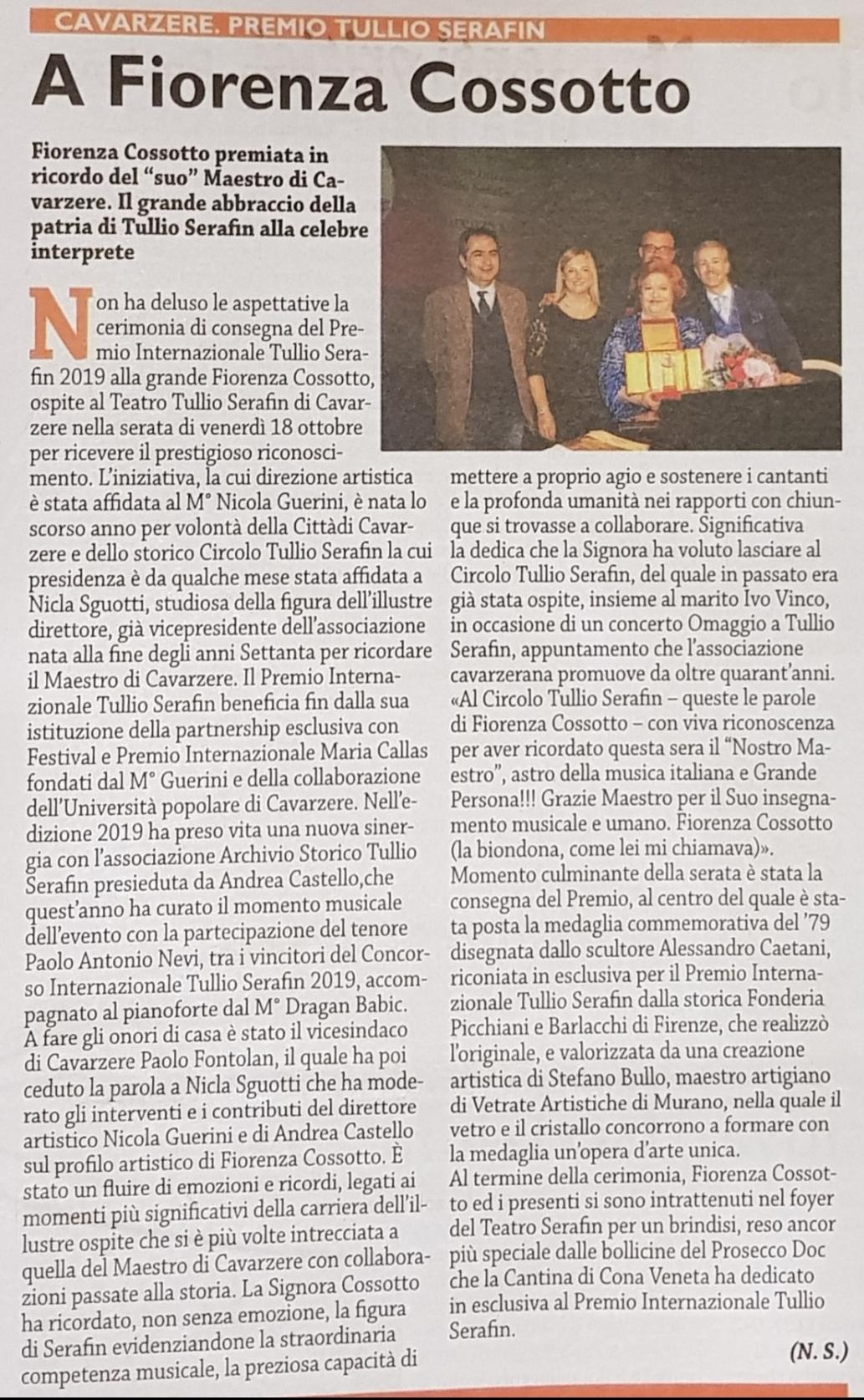 Premio Tullio Serafin a Fiorenza Cossotto – Nuova Scintilla