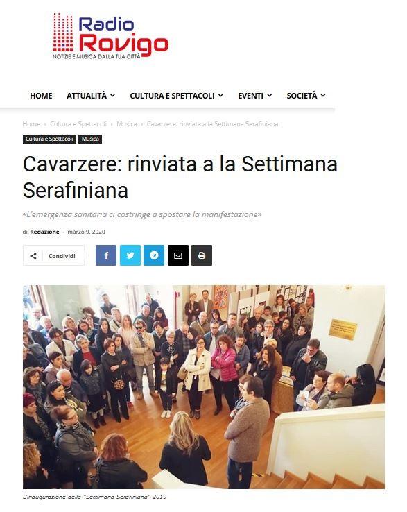 Cavarzere: rinviata la Settimana Serafiniana – RadioRovigo.it